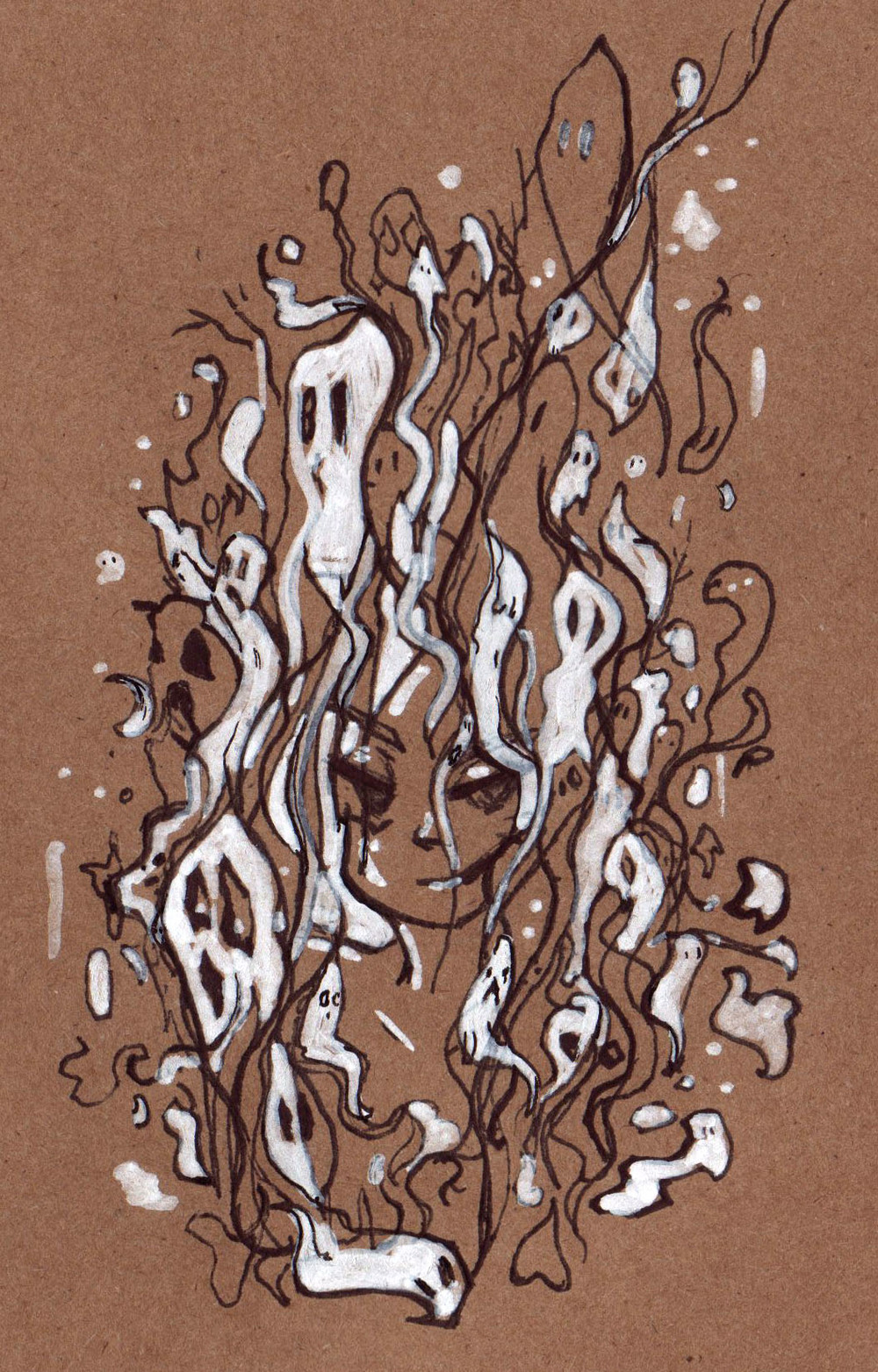 Prismacolor ink pens and white paint marker on toned kraft paper