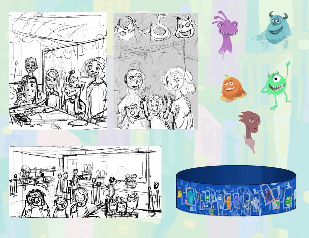 Mask area sketches, plus the character sketches that went with our handout.