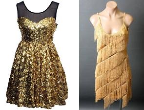 contoh sequin dress (kiri) dan flapper dress (kanan).