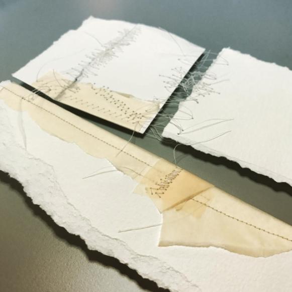 Kelly M. O'Brien,  Mending | Tending No. 6 detail . Paper, thread. 15 x 15 x 2.5 inches box framed. ©2017