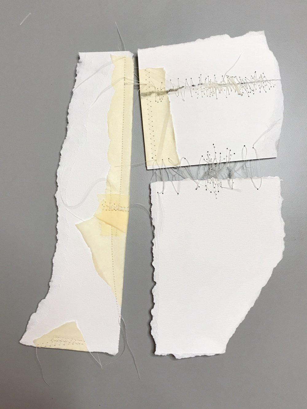 Kelly M. O'Brien,  Mending | Tending No. 6 . Paper, thread. 15 x 15 x 2.5 inches box framed. ©2017