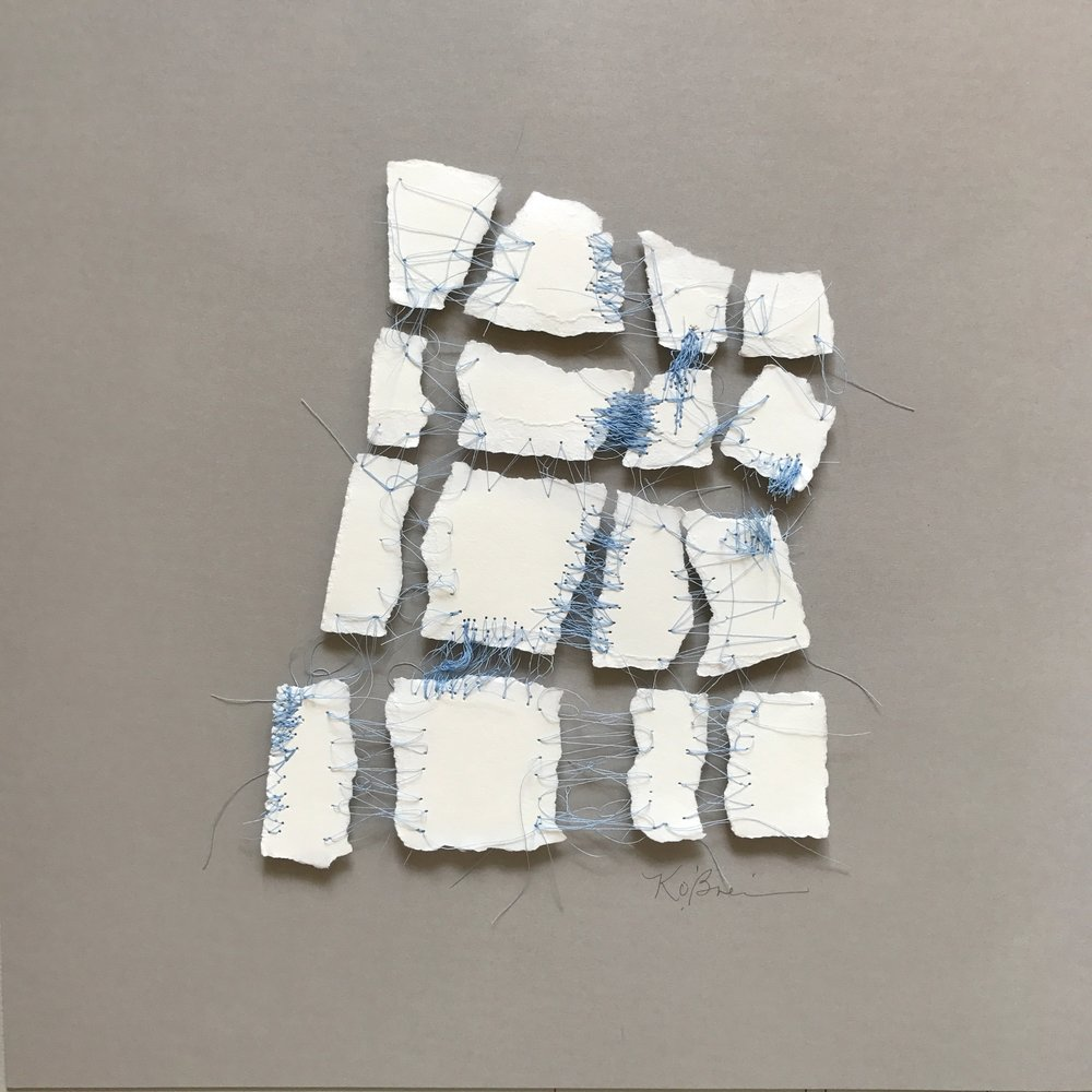 Kelly M. O'Brien,  Mending | Tending No. 8 . Paper, thread. 15 x 15 x 2.5 inches box framed. ©2017