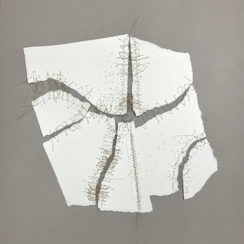Kelly M. O'Brien,  Mending | Tending No. 7  detail. Paper, thread. 15 x 15 x 2.5 inches box framed. ©2017