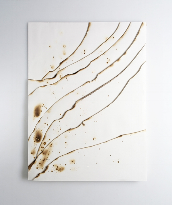 Kelly M. O'Brien, Playing With Fire No. 76. Paper, gold leaf, ink, flame. 32 x 24 x 1.5 inches. ©2018. Commissioned for The Phoenician, Scottsdale, Arizona.