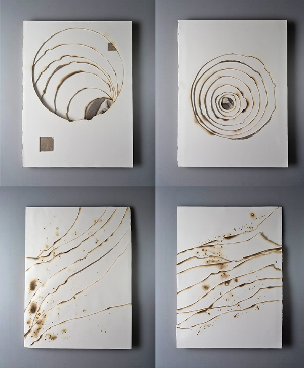 Kelly M. O'Brien, Playing With Fire No. 74-77. Paper, gold leaf, ink, flame. 32 x 24 x 1.5 inches each. ©2018. Commissioned for The Phoenician, Scottsdale, Arizona.