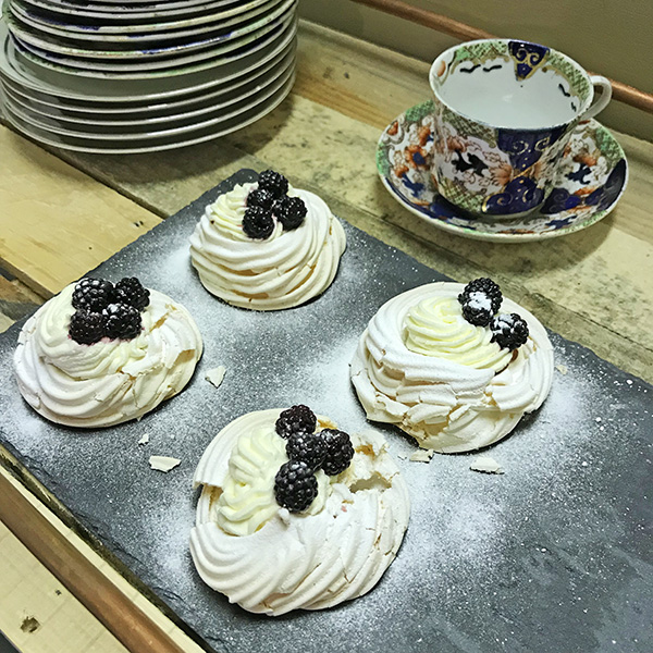 Angel Greenham's homemade pavlova's and tea service at  The Cells Residency , a pop-up collaboration as part of Angel's longer summer 'sentence' at Trowbridge Arts Centre.
