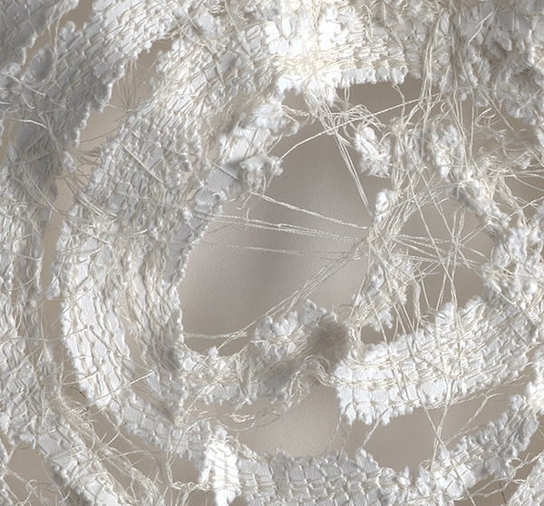 Kelly M O'Brien,  Stitch No. 1  (detail). Paper, cotton thread. 12 x 12 in | 30 x 30 cm. © 2019