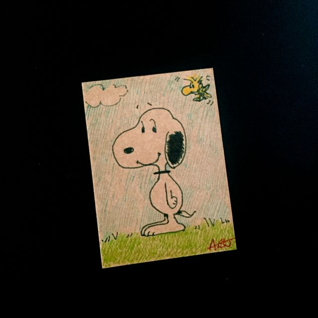 Snoopy, AB  28.06.15    My childhood memory is of reading Snoopy books and drawing Snoopy. I was 13 or 14 and I read lots and lots. It was my favourite thing and I loved to draw. Snoopy's great.    #08