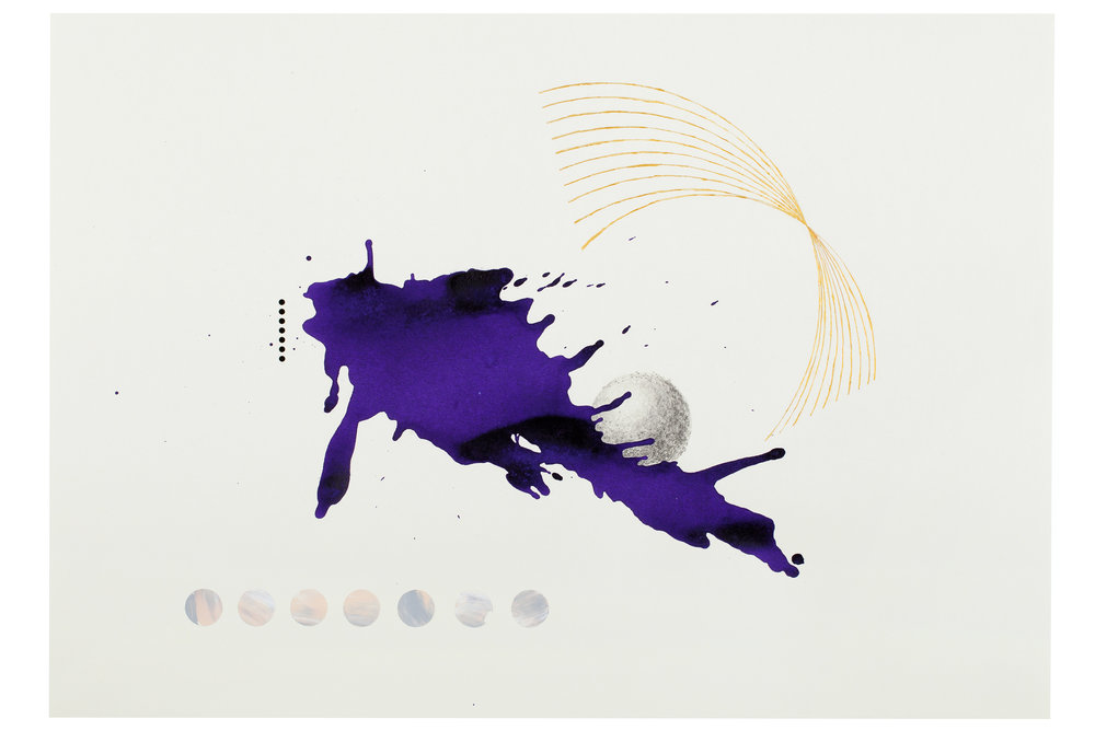 Purple ink series #1  ink, acrylic, pencil, gold powder on paper  59.5x42cm  2018