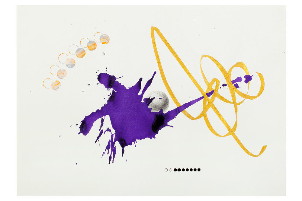 Purple ink series #2  ink, acrylic, pencil, gold powder on paper  59.5x42cm  2018