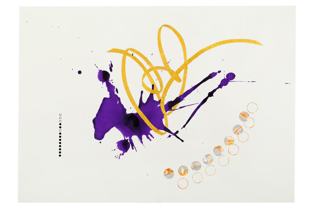 Purple ink series #5  ink, acrylic, gold powder on paper  59.5x42cm  2018