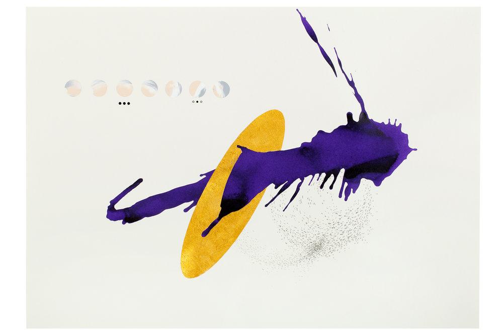 Purple ink series #9  ink, acrylic, pen, pencil, gold powder on paper  59.5x42cm  2018