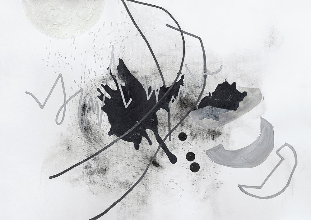 Byunjoo(variations) drawing series #5  Mixture of ink and dry materials, pencil, pastel, silver sumi ink  70x50cm  2018