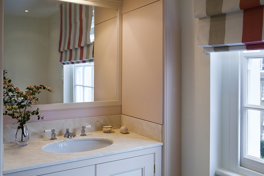 The vanity includes a concealed cupboard