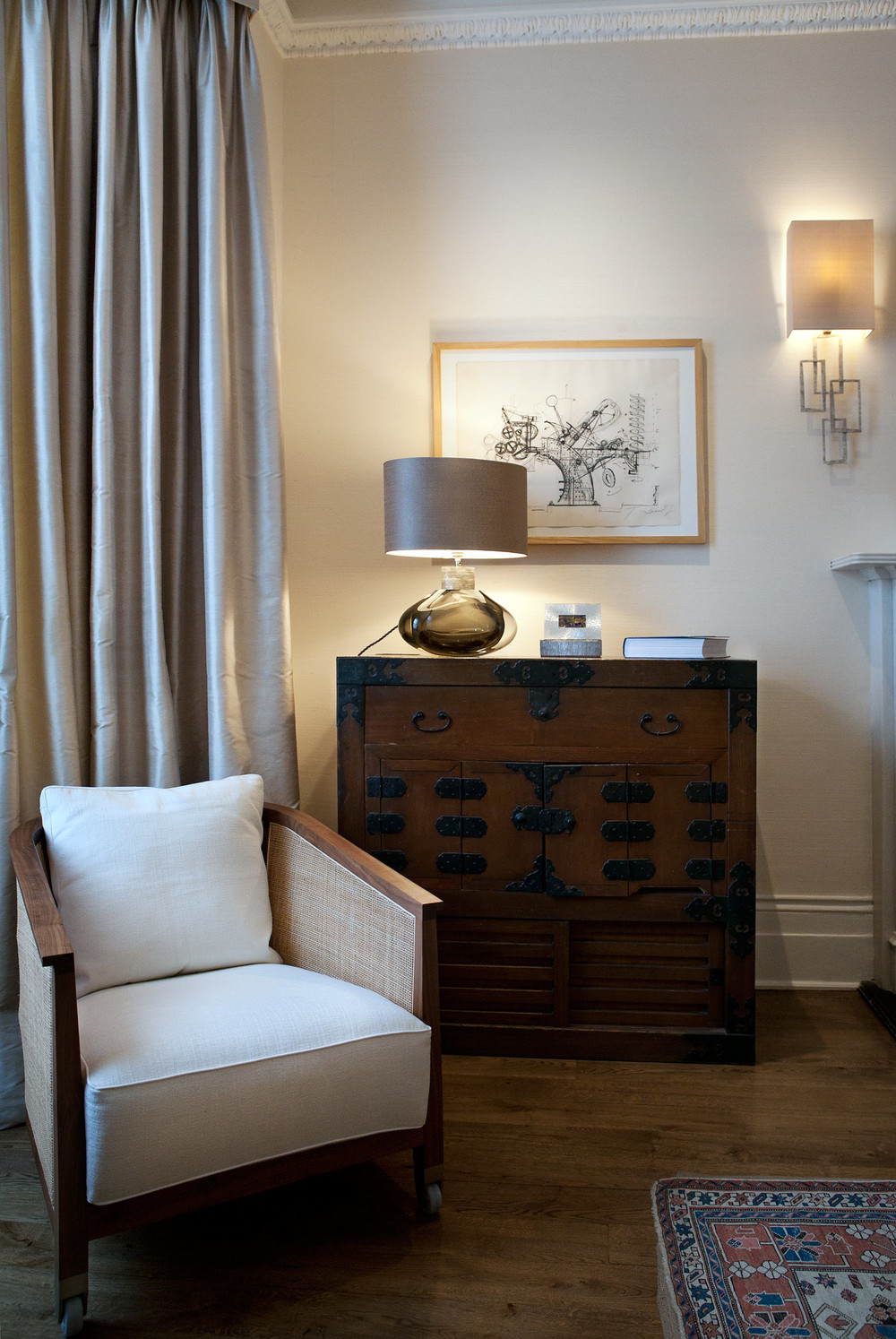 Chairs in Canaletto walnut & reed with white upholstery to add crispness