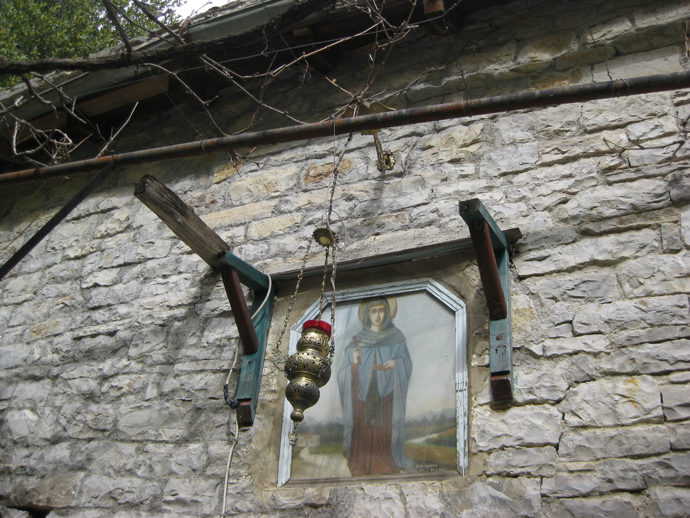 Icon & incense holder outside a church above the Vikos gorge