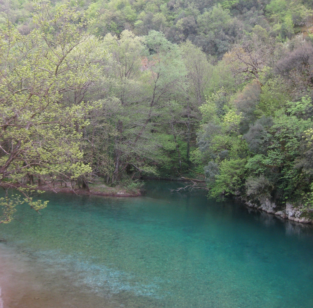 Vikos gorge. My husband couldn't resist the freezing turquoise waters, and jumped right in
