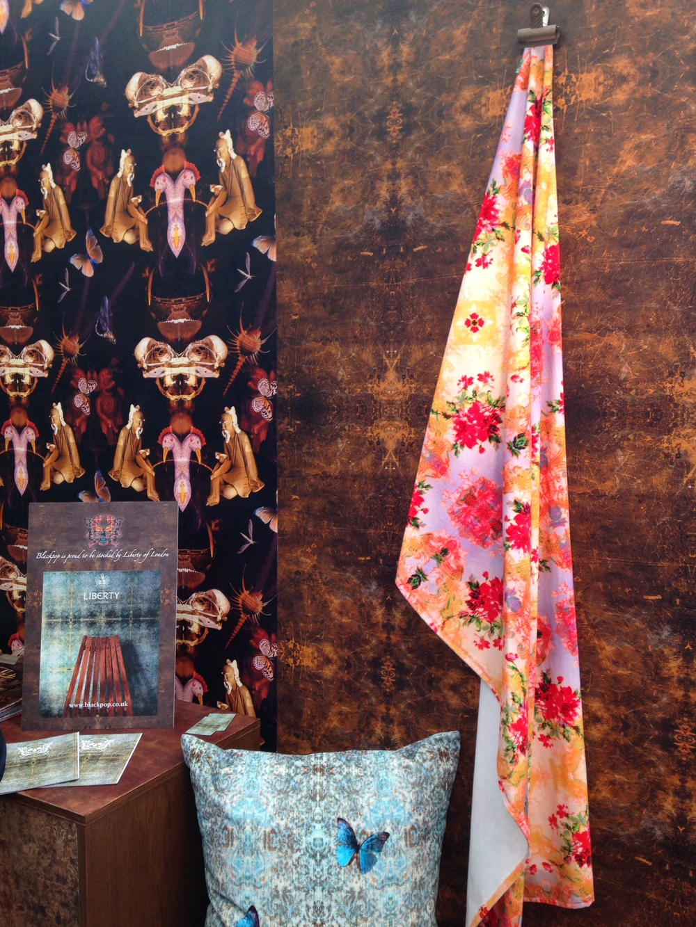 'Reader', 'Casa Cielo' and 'Chapelle Noon' fabrics & wallpaper. www.blackpop.co.uk