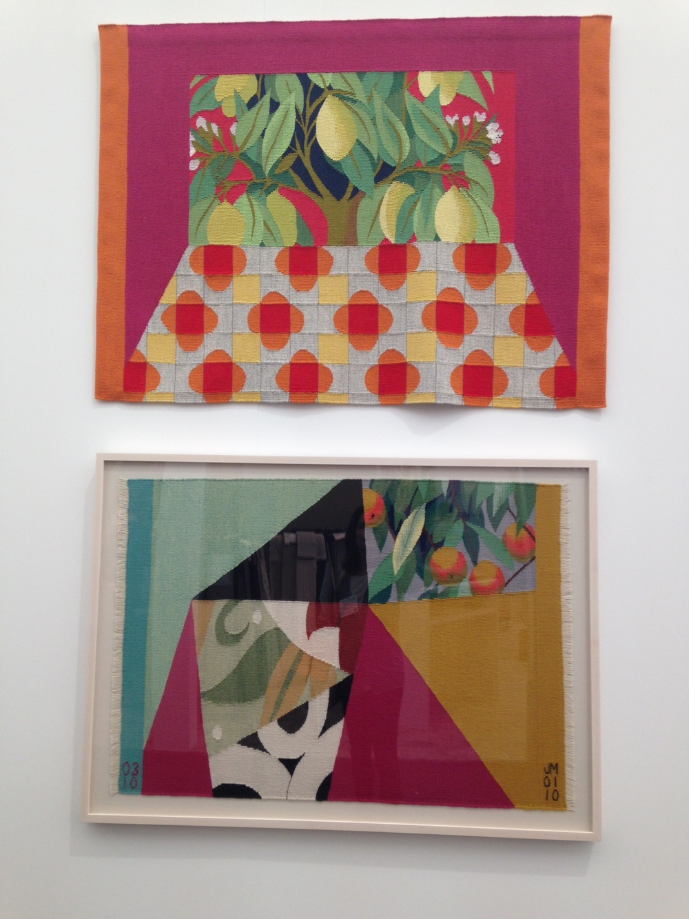 These tapestries by British artist, (& creative director of Vitsoe), Jennie Moncur, were stunning. Here, 'Orange & Lemons' & 'Peaches & Cream'.   See www.jenniemoncur.com for more of her work