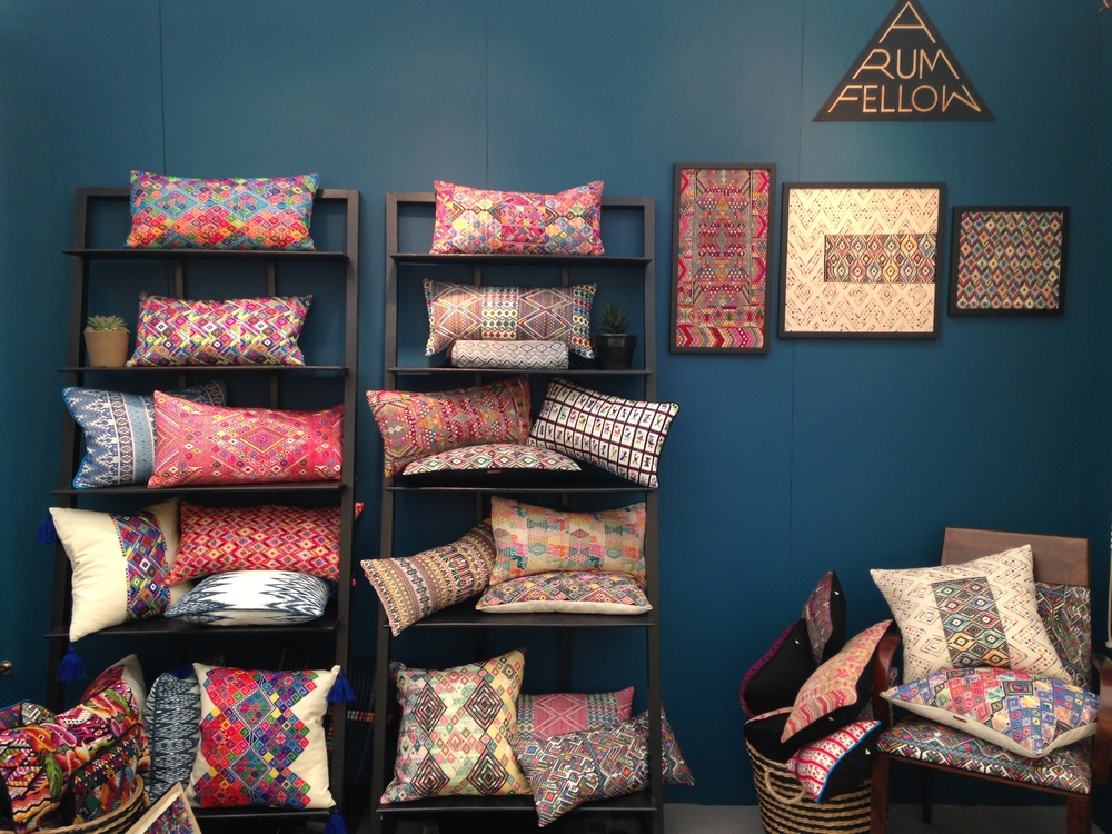 New comer 'A Rum Fellow' has a beautiful aesthetic and an admirable story of social enterprise.   They work with skilled weavers in Guatemala to create vibrant and intricate designs that personally I like best as cushions, but which can also be incorporated directly into furniture.