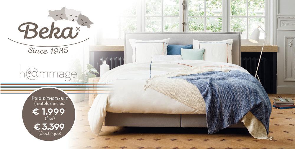 hOmmage, un concept de lit unique, conçu en l'honneur du 80e anniversaire de Beka. Une collection contemporaine au design épuré. Nous proposons également un vaste assortiment de textile de lit et d'accessoires. Le luxe d'une expérience totale de sommeil à portée de main.