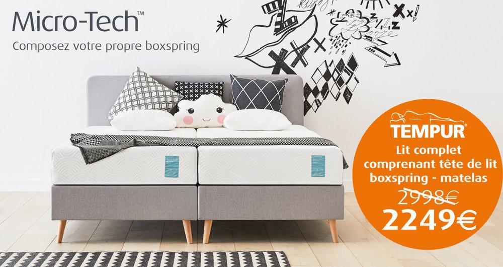 Profitez de notre offre Tempur sur un lit complet comprenant la tête de lit boxspring et le matelas! 2249 euros.