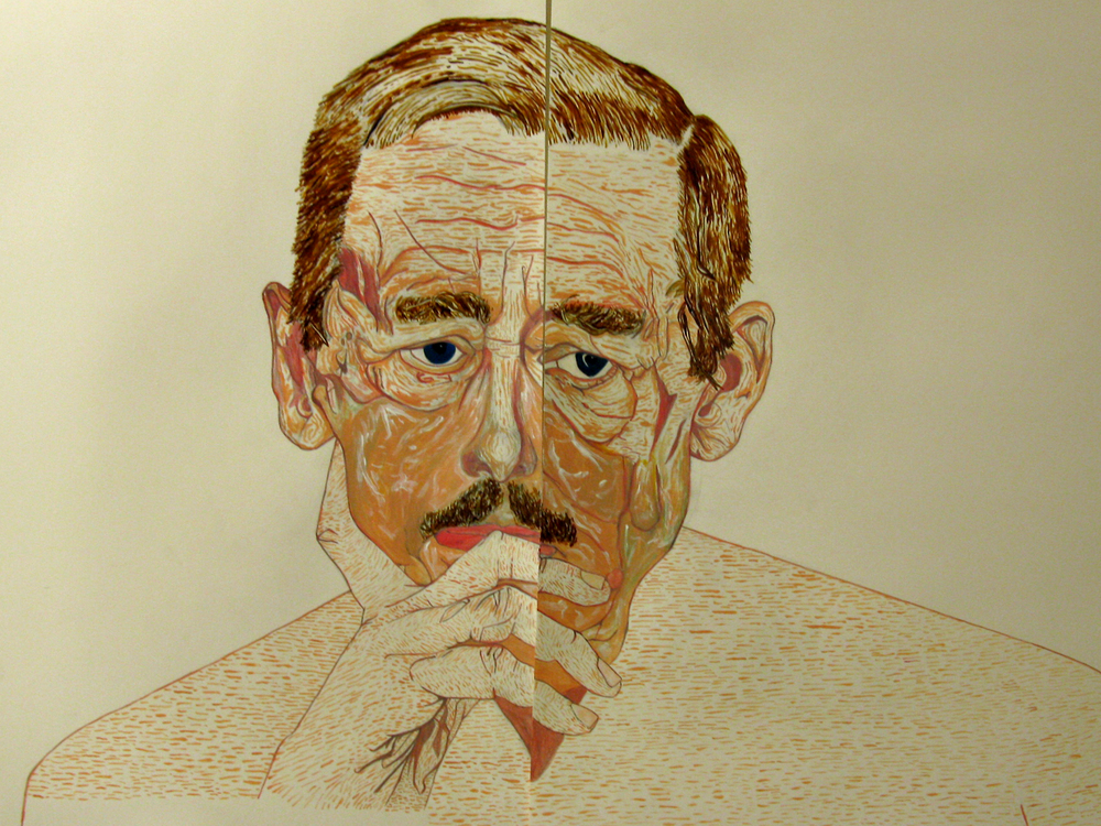 'money wins (Havel torn in two about the current state of Czech Republic)', mixed media on paper, 2015