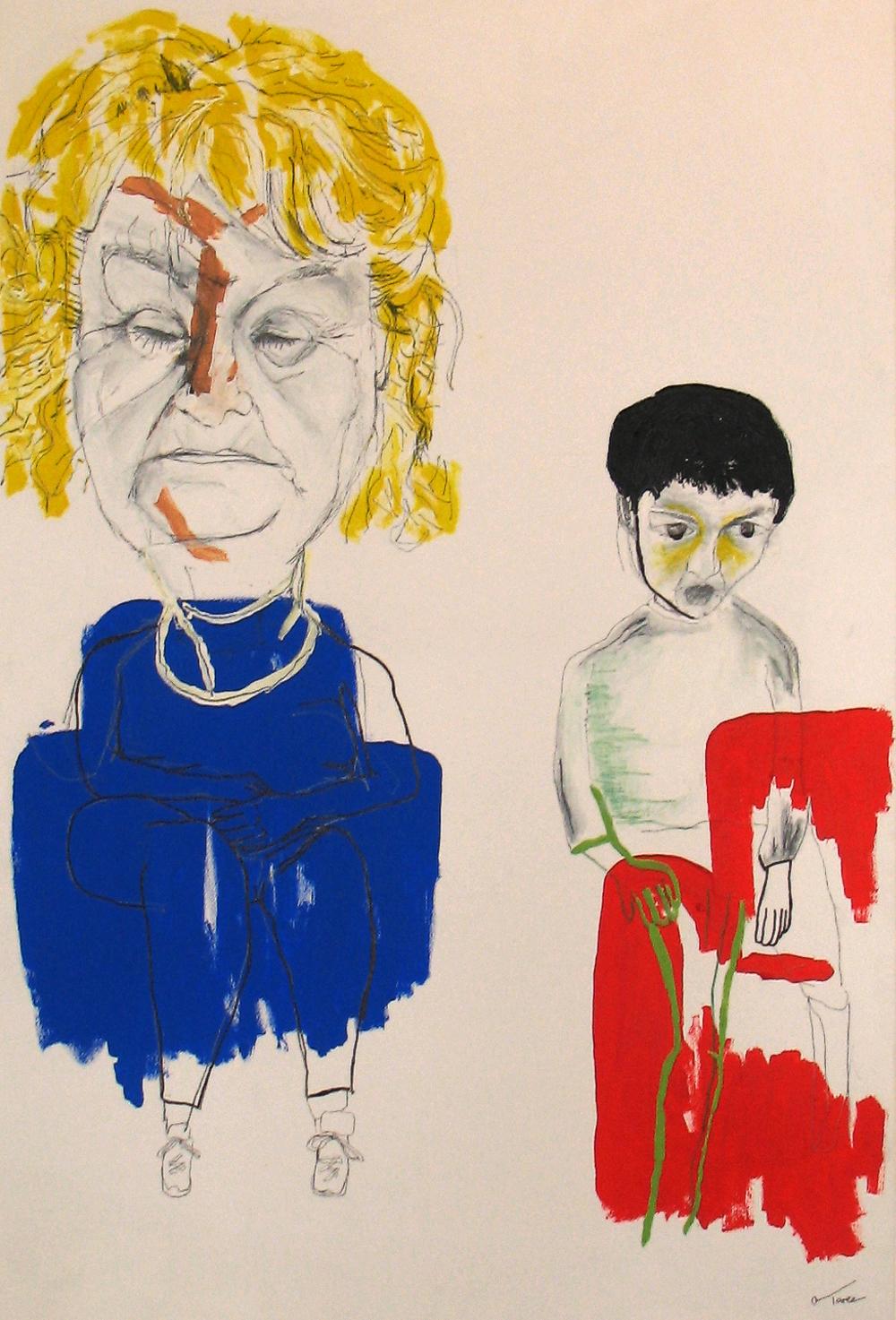 'mum vs me', acrylic pain on canvas, 2007