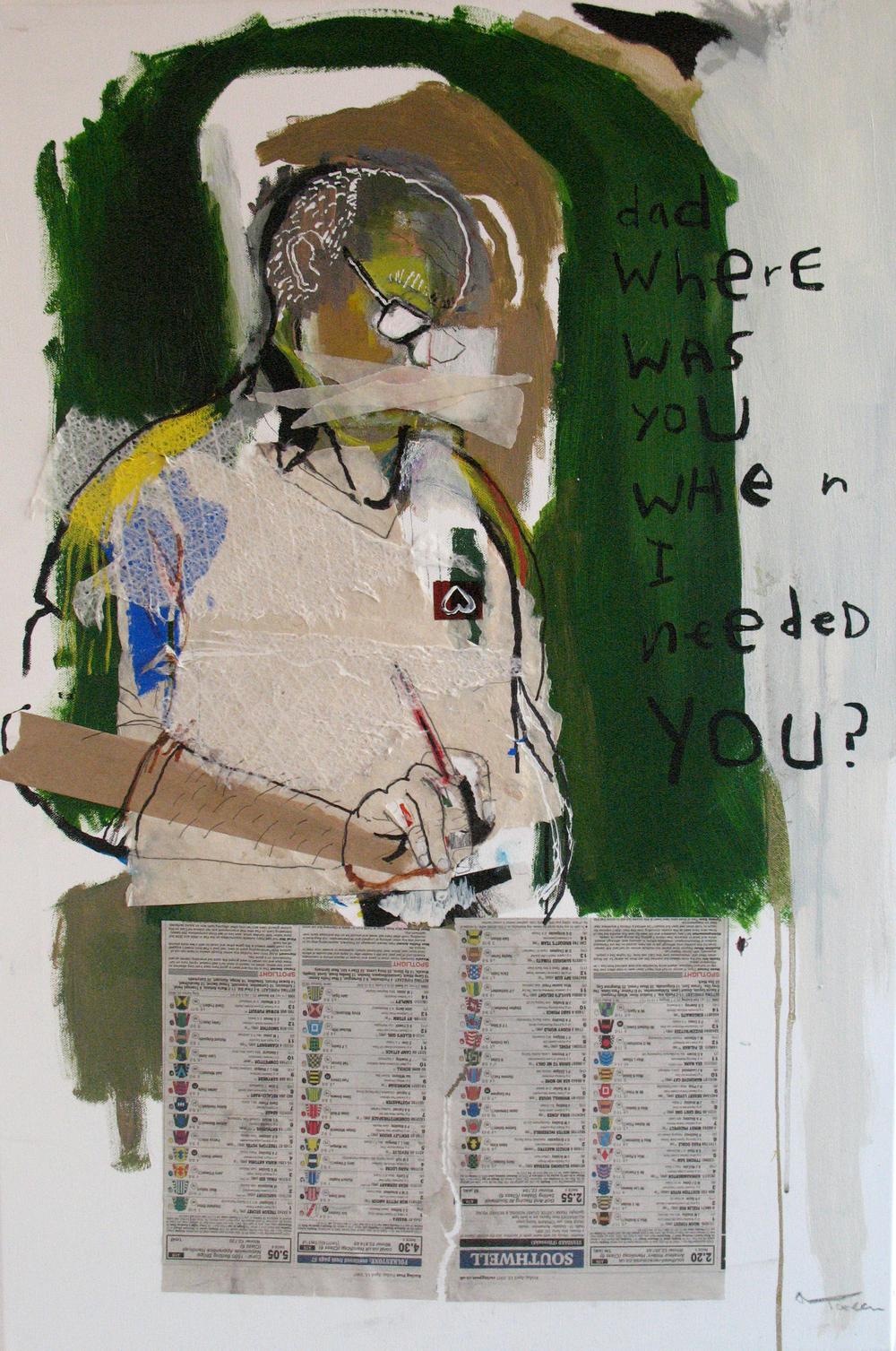 'dad, where was you I needed you?', mixed media on canvas, 2007