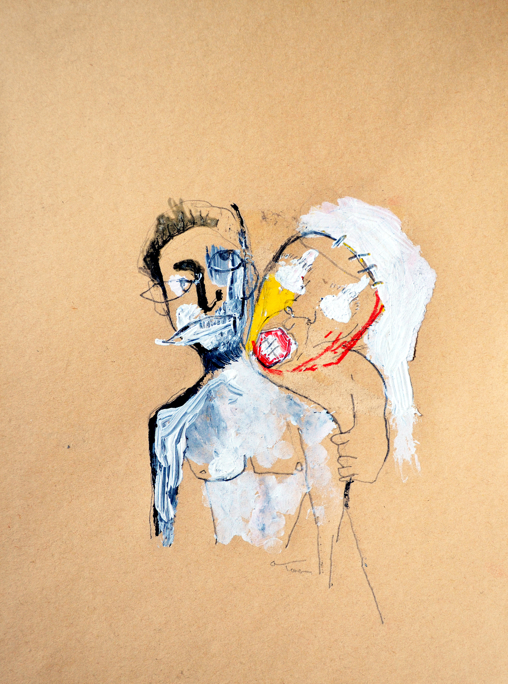 'vampire love', mixed media on paper, 2006