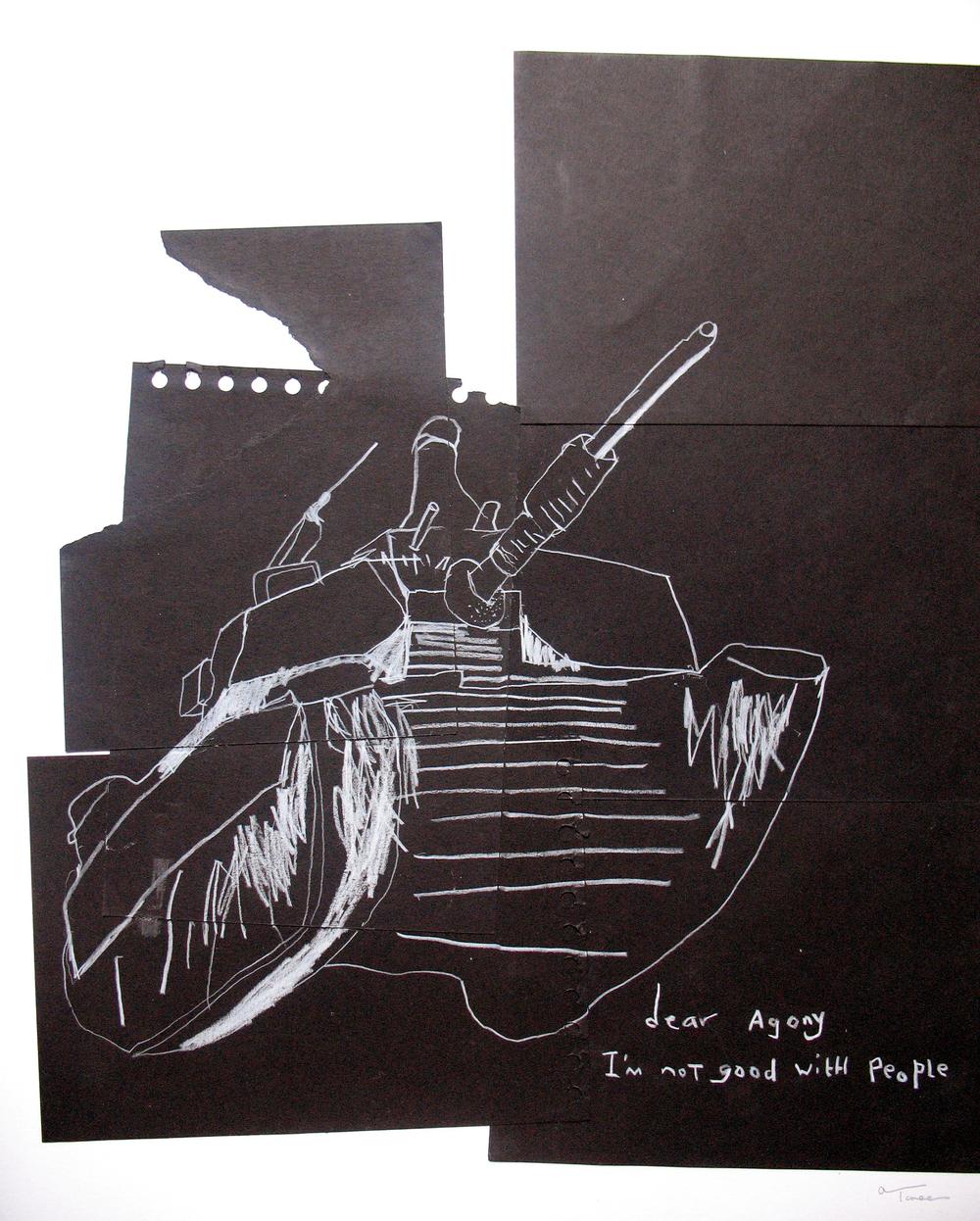 'dear agony', mixed media on paper, 2006