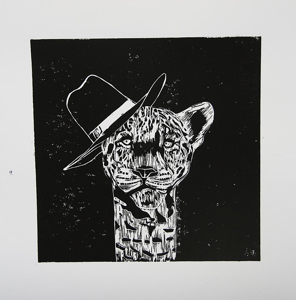 'Miss Leopard', linocut on paper, 42cm x 59.4cm, 2016