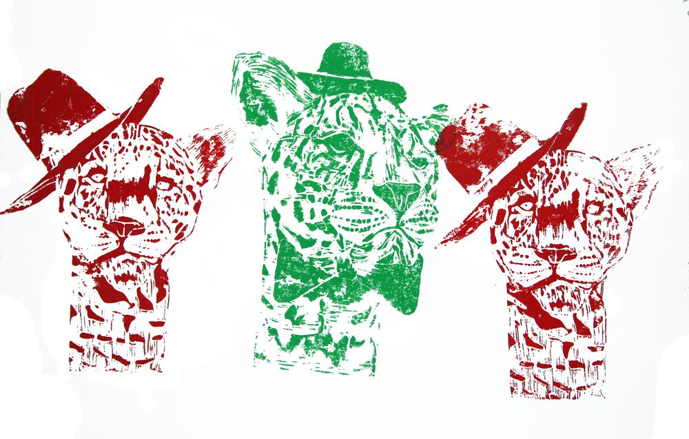 8. 'Miss Leopard' (super chilled), linocut on paper, 42cm x 59.4cm, 2016