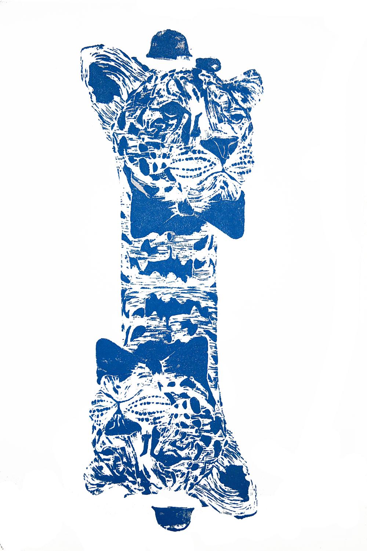 'Mr. Leopard- two heads' (blue), on paper, 42cm x 59.4cm, 2016