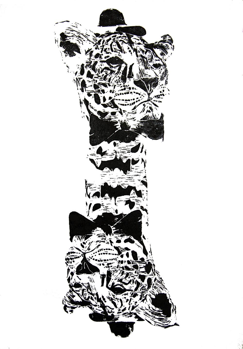 'Mr. Leopard- two heads' (black), on paper, 42cm x 59.4cm, 2016