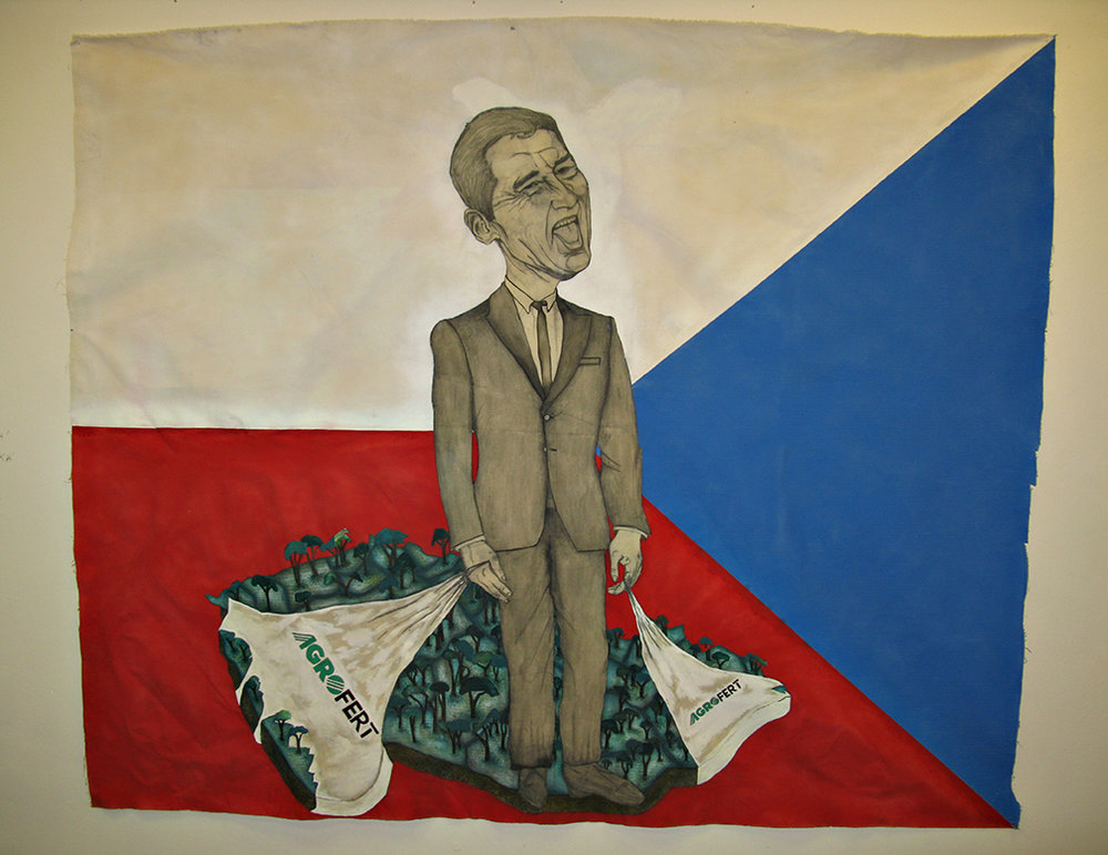 'Agrofert Repulika' (Andrej Babis), mixed media on canvas, 2015