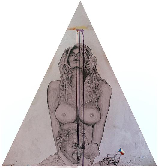'Kunda sem, kunda tam' (cunts here, cunts there) (Milos Zeman), mixed media on wood, 2015