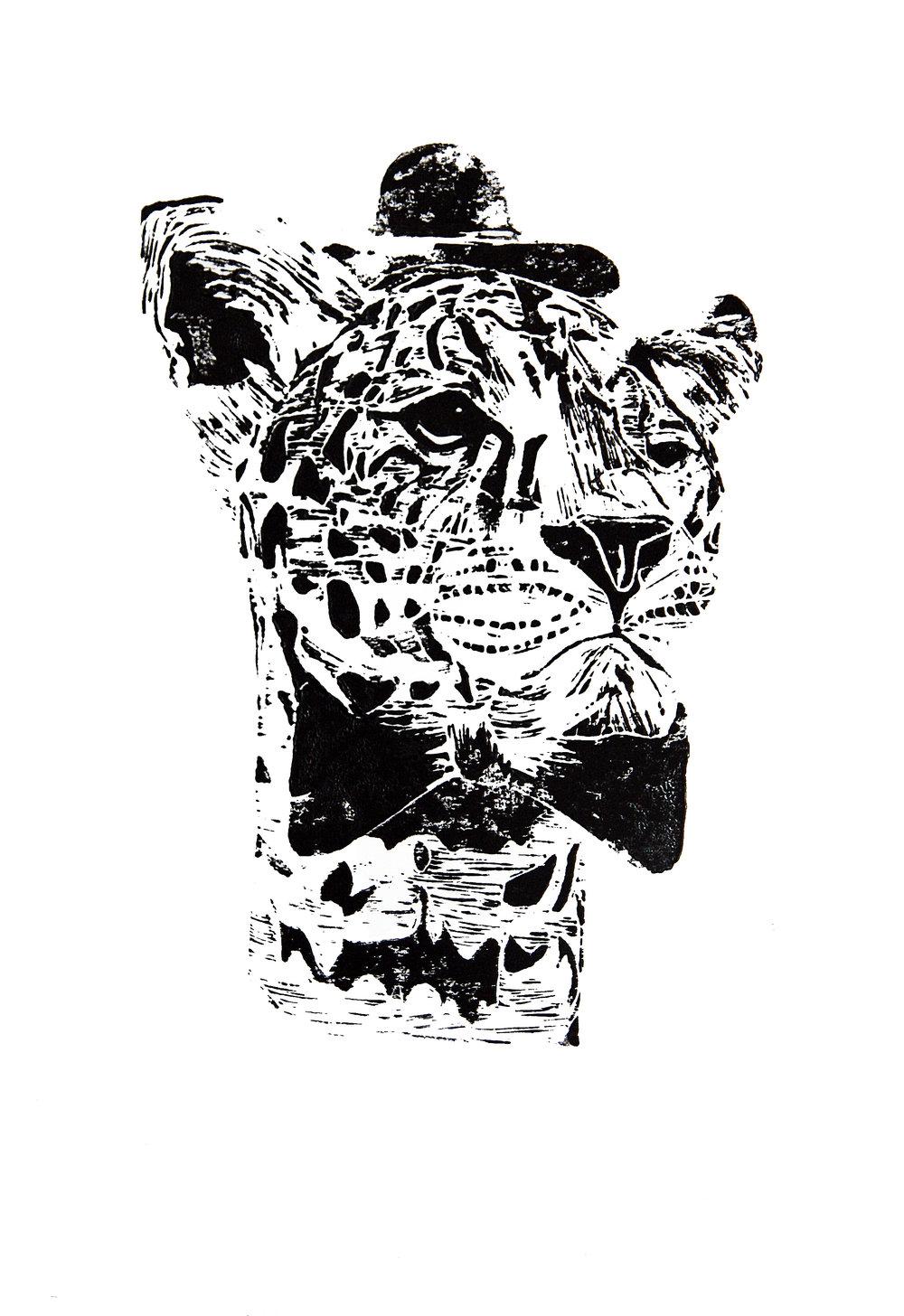 'Mr Leopard' (black), linocut print on paper,  42cm x 59.4cm, 2016