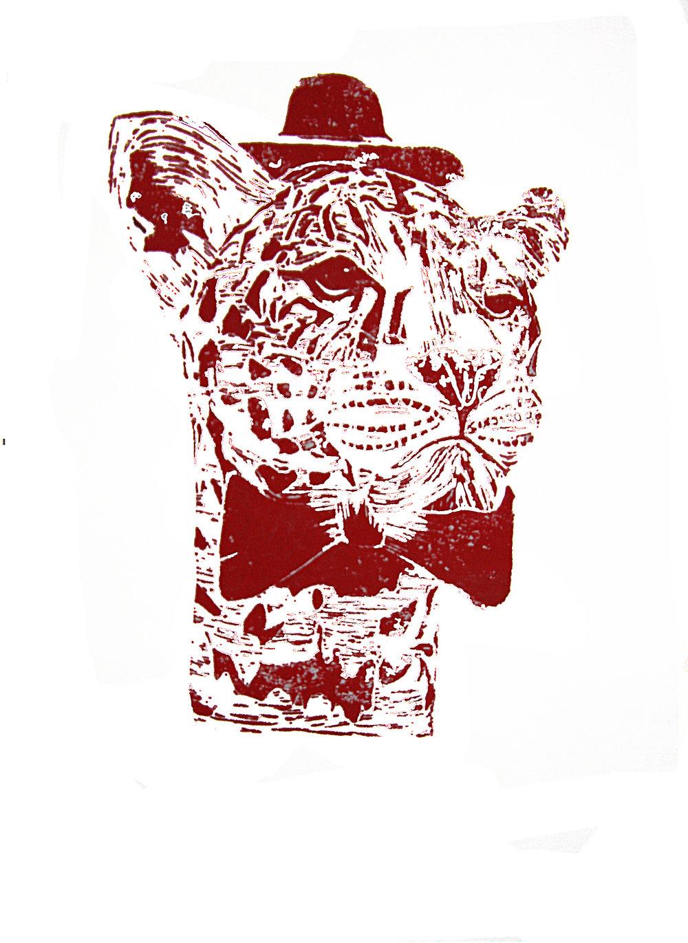 'Mr Leopard' (red), linocut print on paper,  42cm x 59.4cm, 2016