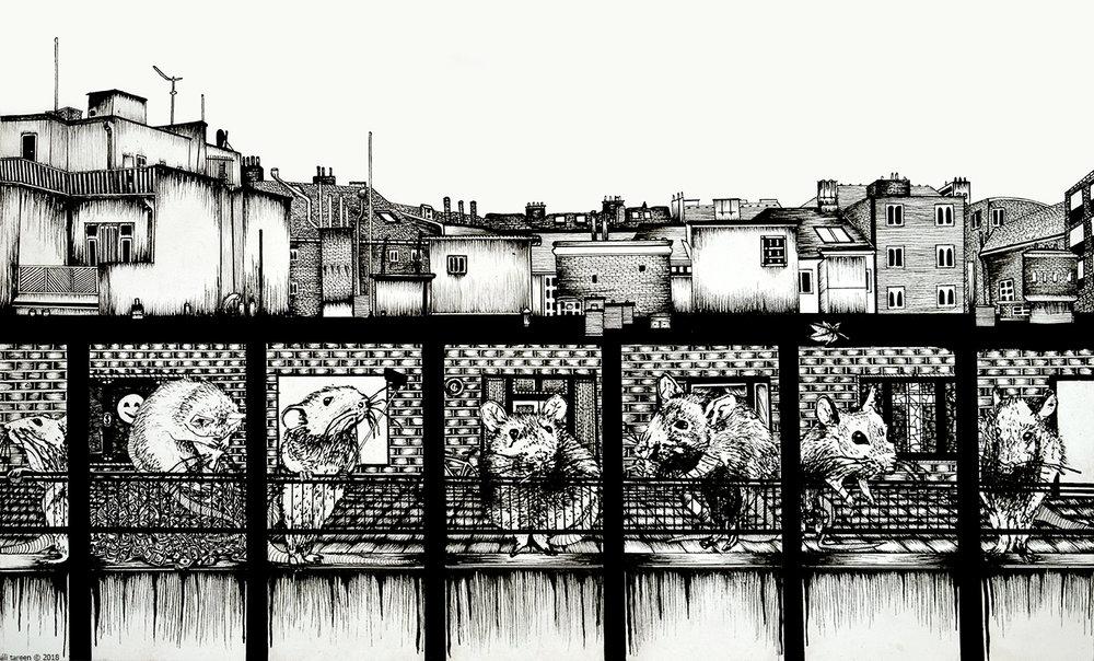 'Institutionalised Free doom?', pen and ink on 230g akvarel paper, 42.0 x 29.7 cm, 2018