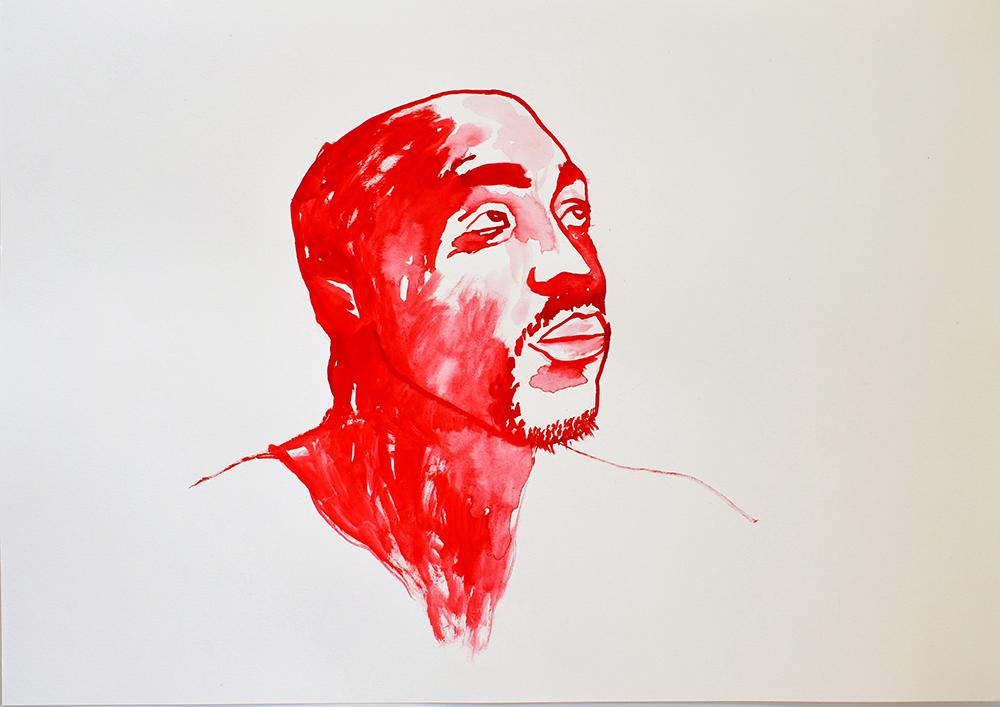 `2Pac', 29.7 x 42.0cm, watercolour on 230g akvarel paper, 2017