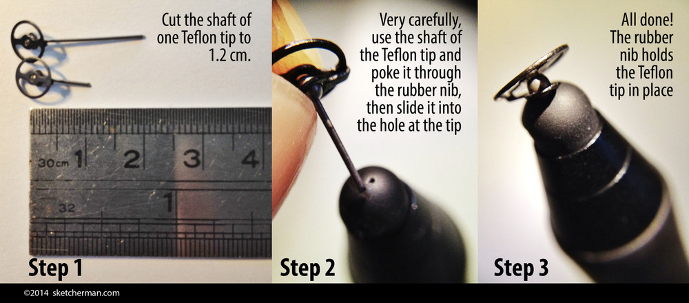 Here are the steps to modifying your Wacom Intuos Creative Stylus with a Jaja Teflon tip. Easy!
