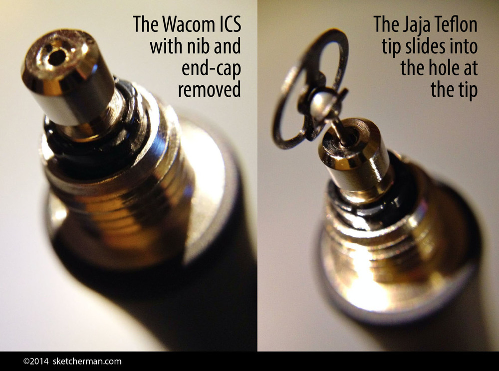 The shaft of the Jaja tip goes into that little hole at the tip of the Wacom ICS. The hole is almost a perfect size for the shaft. The images above are only meant to show you where the hole is. The right way to fit everything is illustrated in the images below.