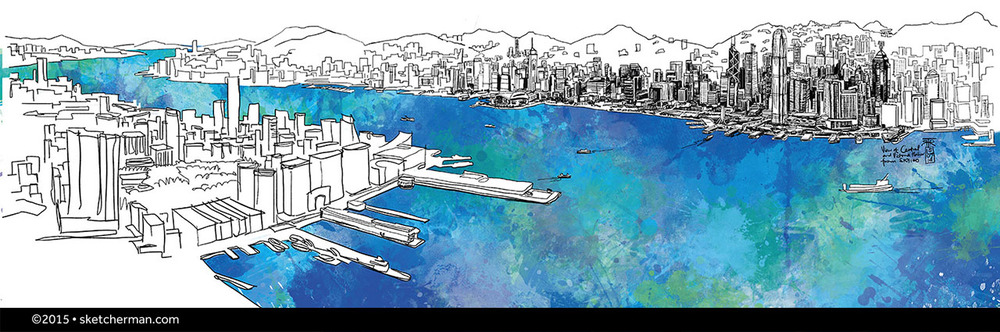 I did this piece from Sky100, across the harbor from Central, as one of my pieces for an exhibition at City Gallery with Urban Sketchers Hong Kong, that ran from Oct 2014-Feb 2015.