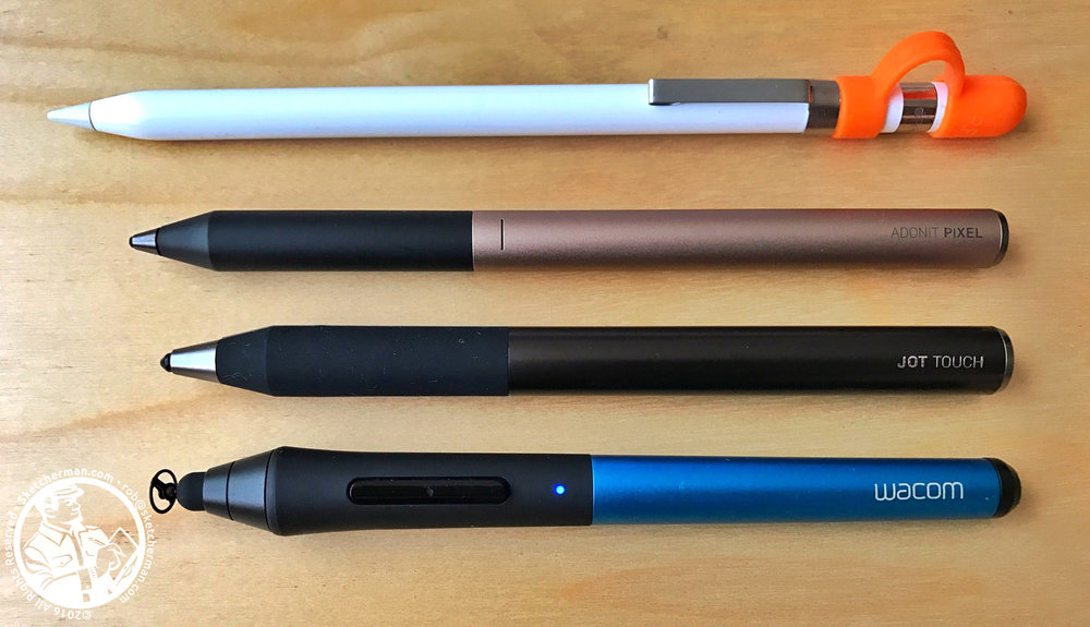 Various generations of pressure-sensitive styli I've used over the last 4 years. Top down: Apple Pencil, Adonit Pixel Pressure Sensitive, Adonit Jot Touch with Pixelpoint, Wacom Intuos Creative Stylus (1st gen, with modified Jaja teflon tip)