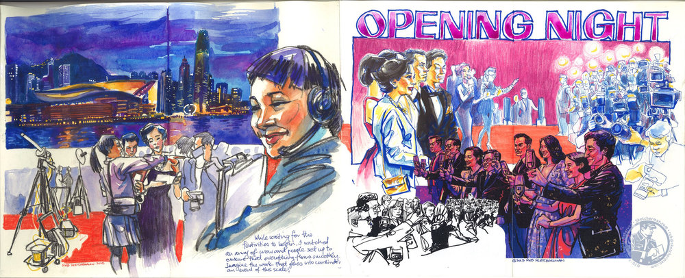 A spread featuring the opening ceremony of the 39th Hong Kong International Film Festival, including the red carpet event.