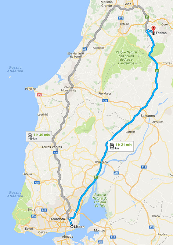 From Lisbon to Fátima : 128km (79.5m)