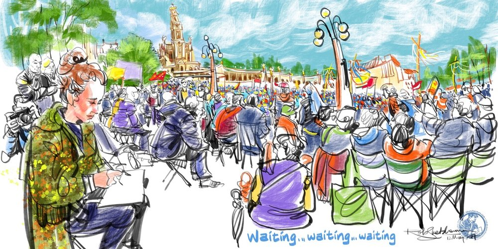 As I got to know Kasia, I thought I'd make her the foreground of this waiting-crowd sketch.