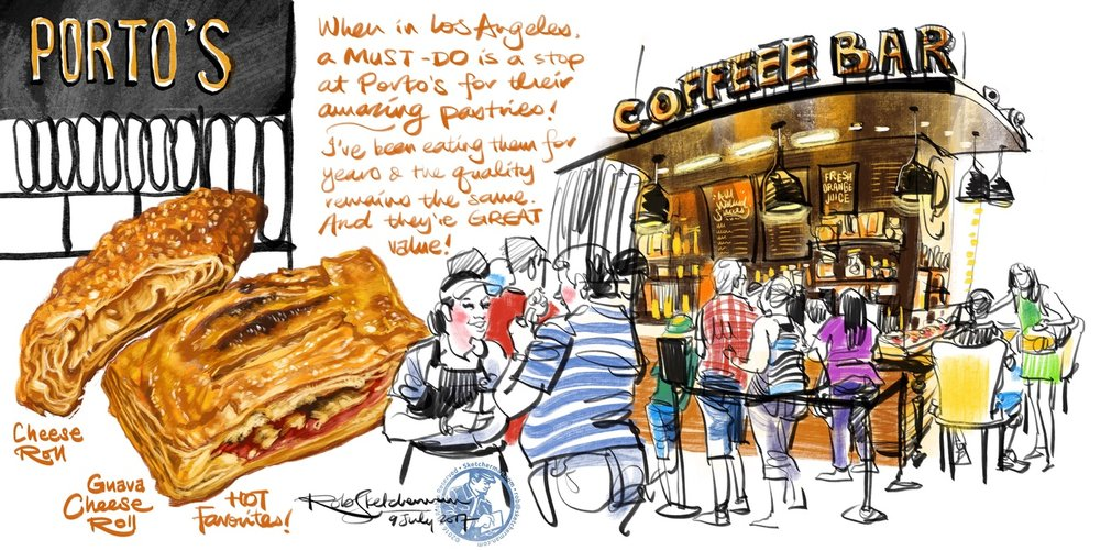 Sketching can happen anywhere! In this case, while my wife queued for takeaway, I drew the coffee bar quickly. The pastries were added later, just before I inhaled them.
