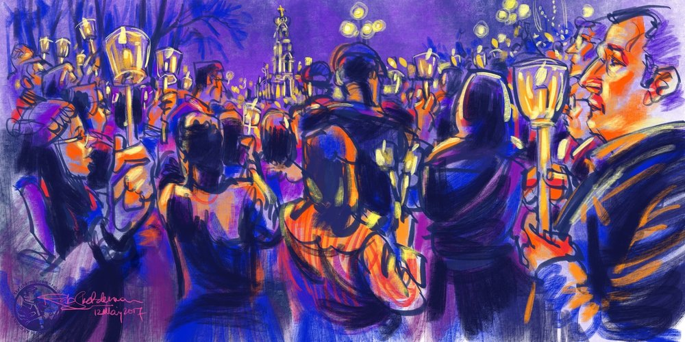 iPads literally shine at night, opening a huge new world of sketching on location. This was done on assignment in Fatima, Portugal, during the candlelight mass in the presence of Pope Francis.